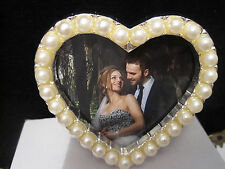 """Heart Shape South Sea  2X2""""  White Pearl Silver Picture Frame"""