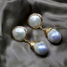 Jumbo Natrual Baroque Pearl Earrings 14K Twisted Wires Elegant Style Design