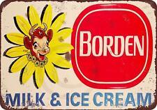 """Borden Milk & Ice Cream Rustic Retro Metal Sign 8"""" x 12"""""""