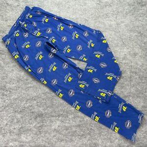 Jimmie Johnson NASCAR Pajama Pants Men Small Blue Gold 48 Cotton Fleece Lowes