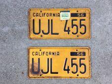 Vtg Pair 1956 Car Automobile LICENSE PLATE Set California Black Yellow UJL 455
