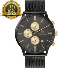 Original Men's Wrist Watch Chronograph Stainless Steel Mesh Strap 12 Hour Dial