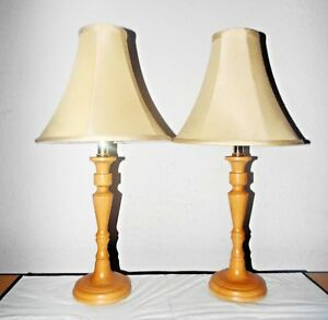 """LAMPS PAIR 23""""H FANCY LIGHT-WEIGHT WOOD COUNTRY THEMED TABLE LAMPS w/SHADES"""