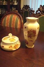 Royal Worcester England large vase and covered bowl, Palissy pattern[6]