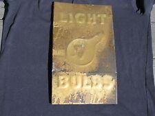 Vintage LIGHT BULBS TIN SIGN Old Antique Lightening Bolt S Display Rack Signage