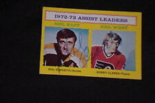 HOF PHIL ESPOSITO 1973-74 TOPPS LEADERS SIGNED AUTOGRAPHED CARD #2 BRUINS