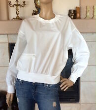 UNIQLO UUU LEMAIRE OFF WHITE COTTON LONG SLEEVE T BLOUSE NWT SIZE S