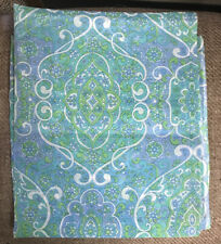"""Vintage Mod Floral Sheer Voile Fabric Paisley Pattern Blue/Green, 2.75 yds x 44"""""""