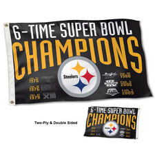 Pittsburgh Steelers 6 Time Super Bowl Champions Two Sided Flag