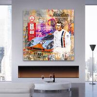 LEINWANDBILD STEVE MCQUEEN POP ART KUNSTDRUCK LE MANS WAND BILDER AUTOS BÜRO