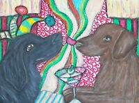 Jester Flat Coated Retriever Martini Original Painting 9 x 12 Vintage Style Art