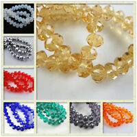 150Ps Faceted Glass Crystal Loose Beads Rondelle Necklace&Bracelet 8x6mm Supply
