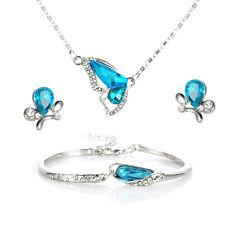 Women's Crystal Butterfly Jewelry Set Silver Necklace Earrings Bracelet Bangle