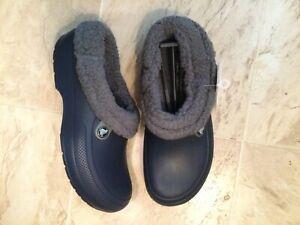 New Crocs Blitzen III Navy Blue Gray Lined Clog Shoes Mens 10 Womens 12