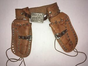 1950s Roy Rogers and Trigger Double Leather Holster Cap Gun Belt with Buckle
