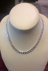 """Men's 925  Solid Silver Curb Chain Necklace Birthday Gift 10 mm  20"""" Stamped"""