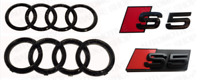 S5 Audi Black Gloss Badge Rings Grille Boot Kit Badge Emblem Set