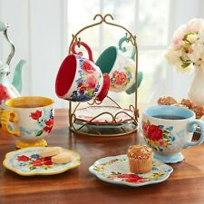 The Pioneer Woman Floral Medley Rack With Appetizer Plates & Mugs 9 Piece Set