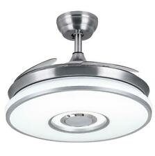 Reversible Invisible Remote Ceiling Fan Light Chandelier Lamp Bluetooth speaker
