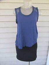 REISS Sz S Blue Lace Sleeveless Women's Blouse Sexy Cute