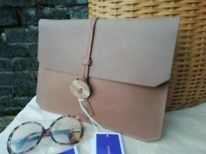 Deadly Ponies New Zealand Designers Marbleman Leather Beige Tan Clutch Bag...NWT
