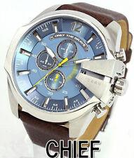 Men Fashion Luxury Big case watches Brown leather Date Quartz watch +box