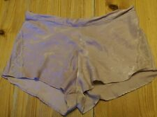 Vintage Shimmery Pink Silky Satin Shorts with lace to sides Size 14 Bnwot