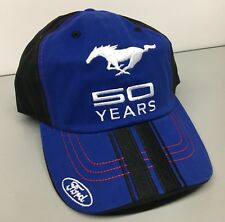 BLUE BLACK SILVER RED FORD MUSTANG 50TH ANNIVERSARY 50 YEARS EMBROIDERED HAT/CAP