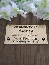 Personalised Pet Memorial Plaque Dog Cat bird etc Engraved 120mm x 60mm