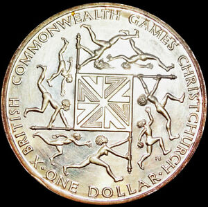 NEW ZEALAND - COMMONWEALTH GAMES - PROOF 1 DOLLAR 1974 - SILVER COIN     #A42