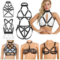 PU Leather Womens Chest Body Bust Harness Bustier Cage Bra Club Hollow Out Belt