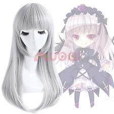 Kushina Anna Suigintou Lolita Gray Silver White Long Straight Cosplay  Wig