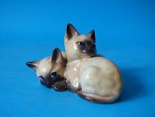 PAIR CUTE COLLECTABLE VINTAGE BESWICK SEAL POINT SIAMESE CATS KITTENS FREE UK PP