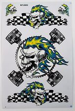 Superb A4 Sheet of Flaming Skull Stickers Decals Racing/Motorsport/Car/Bike NEW!
