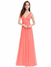V-Neck Patternless Long Petite Dresses for Women