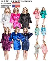 women's Kimono Bridesmaid Robe Sleepwear Bathrobes Silk Blank Satin RobeS-3XL
