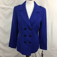 NWT Tahari Womens Royal Blue Double Breasted Notched Lapel Blazer Jacket Sz 8