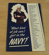 """1940's WWII US Navy RECRUITMENT Booklet~""""WHAT KIND OF JOB...NAVY""""~Badges/PAY~"""