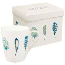 Harlequin Limosa Blue Lagoon Feather Mug  - Fine Bone China - Gift Boxed