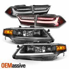 For 04-08 Acura TSX LED Light Tube DRL Projector Headlights + Tail Light [Black]