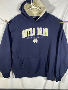 Vintage Colosseum Norte Dame Fightn' Irish Chenille Logo Hoodie Blue Mens XL