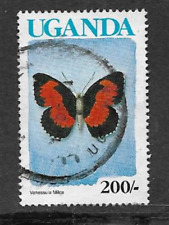 UGANDA USED DEFINITIVE STAMP - 1989 - BUTTERFLY LADY'S MAID - 200/-