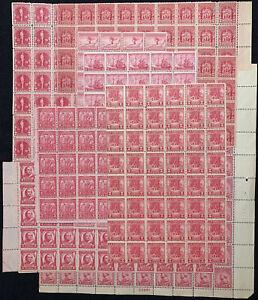 US #645//736 1928-1934 2c Carmine Rose (528 Reds) Blocks.  MNH VG-F (SCV $533)