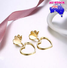 Wholesale Elegant Yellow Gold Filled Love Heart Dangle Earrings Gift