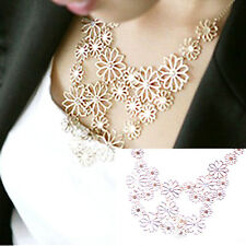 Flower Statement Necklace Gold Daisy Cubic Zirconia Vintage Collar Choker Gift