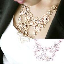 Gold Flower Statement Necklace Daisy Rhinestone Vintage Collar Choker CZ Gift