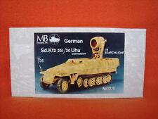 MB Models ® 1076 German Sd. Kfz. 251/20 UHU Conversion IR Searchlight 1:35