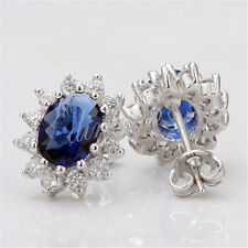 Crystal Wedding Cz Earrings Z034 18K White Gold Filled Hypo-Allergenic Blue