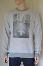 NEW Abercrombie & Fitch Photoreal Graphic Crew Neck Sweatshirt Light Grey XXL