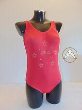 Vintage 80 FILA Costume Intero M 44 Mare Piscina Donna Rosso Swimsuit 90